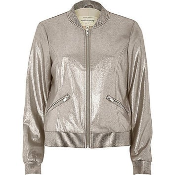 Silver faux suede bomber jacket - bomber jackets - coats / jackets - women