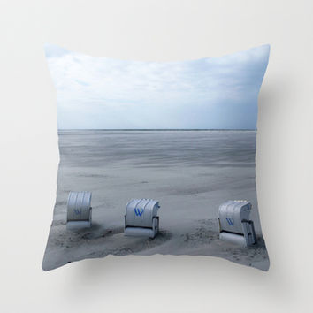 www - beach chairs Throw Pillow by findsFUNDSTUECKE