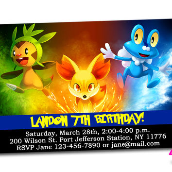 Pokemon XY Kids Birthday Invitation Party Design