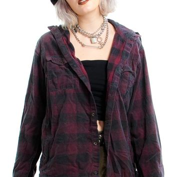Vintage Y2K Hooded Corduroy Flannel - One Size Fits Many