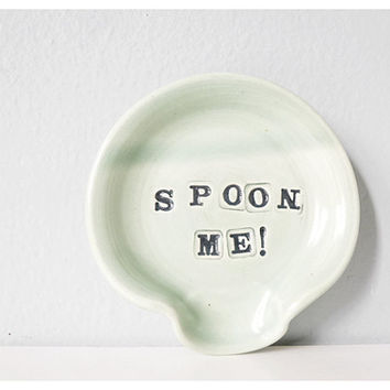 Funny SPOON ME spoon rest - mint handmade pottery spoonrest miniature ceramic plate