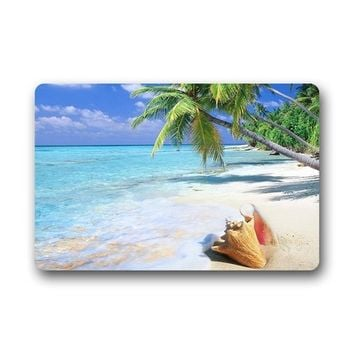 Fashions Unique Com table Style Door Mat Decor Gorgeous Tropical Beach Shell Cocos Nucifera Tree Doormat