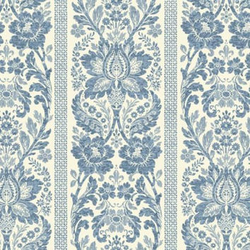 Blue Damask Stripe Wallpaper KC1843 - Sold by the Yard