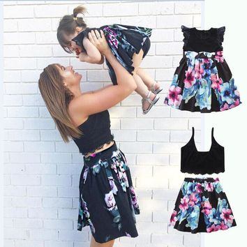 Family Matching Clothes Matching Hawaiian Mother Daughter pink and blue flower Dress in Black