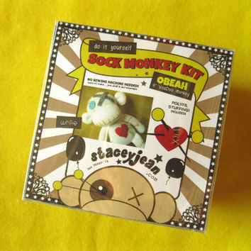 CLEARANCE!! White VooDoo Sock Monkey DIY Kit - DELUXE - No Sewing Machine Needed! Sale!