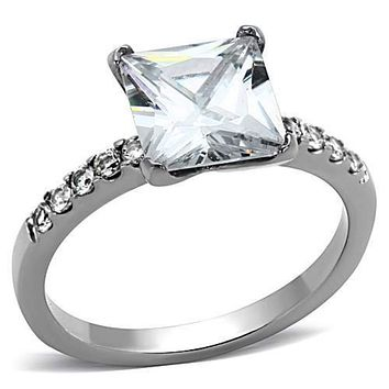 WildKlass Stainless Steel Engagement Ring High Polished (no Plating) Women AAA Grade CZ Clear
