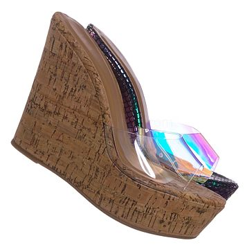 Choice40 Lucite Clear Platform Wedge Sandal - Cork & Hologram Snake
