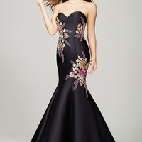 Black Floral Applique Prom Dress 33689