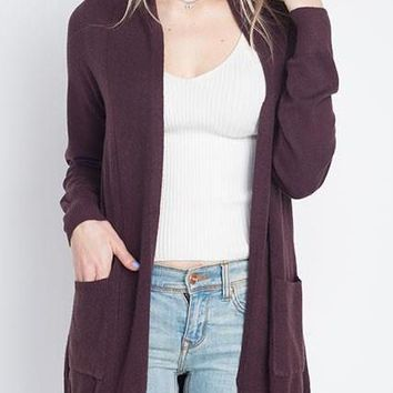 Ava Cardigan in Raisin