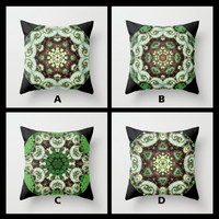 Begonia Escargot mandala pillow cover, all occasion gift, botanical throw pillow, green tones, home decor, living room, bedroom
