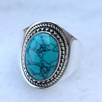 turquoise ring, silver ring, turquoise stone ring, silver turquoise ring, 92.5 sterling silver, Natural Turquoise Silver Ring,  RNSLTR219