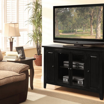 Acme 91010 Vida black finish wood tall tv stand cabinet