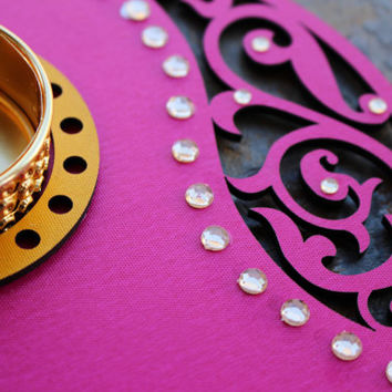 Diwali - Pink Paisley Circular Tea light Holder