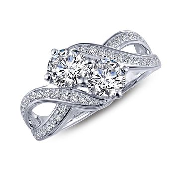 Lafonn Two-Stone Sterling Silver Platinum Plated Lassire Simulated Diamond Ring (1.4 CTTW)