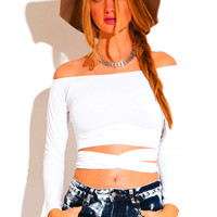 Self Wrap Indie Crop Top *White & Taupe*