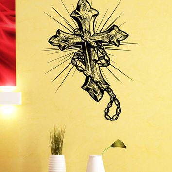 Vinyl Wall Decal Sticker Rosary Cross #5457