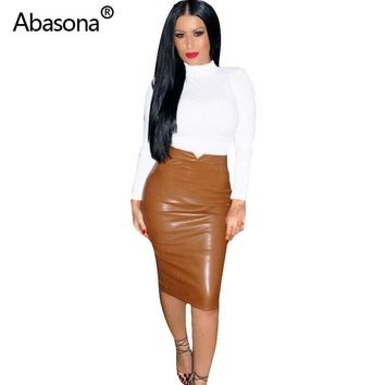 Women's Faux Leather Pencil Skirt