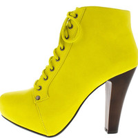 PUFFIN06 YELLOW LACE UP CHUNKY HEEL BOOT