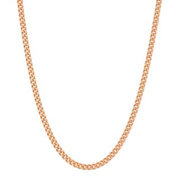 14k Rose Gold Over Silver Curb Chain Necklace | null