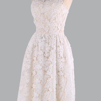 C| Chicloth Floral Lace StraplessTube Flare Women Skater Dress