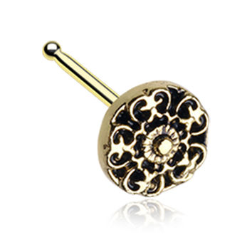 Golden Color Kali Filigree Icon Nose Stud Ring - 20 G - Sold as a Pair