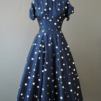 50s Navy & White Polka Dot Dress with Full Skirt, 34 bust, Vintage 1950s dress