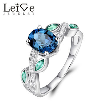 LEIGE JEWELRY 925 SILVER LONDON BLUE TOPAZ RING OVAL CUT ANNIVERSARY PROMISE RINGS FOR WOMEN FINE JEWELRY GEMSTONE
