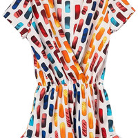 Printed Surplice Front Short Sleeve Rompers