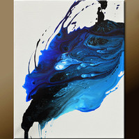 Abstract Art Painting on Canvas 16x20 Original Contemporary Modern Blue Art Paintings by Destiny Womack - dWo -  When the Last Tear Falls