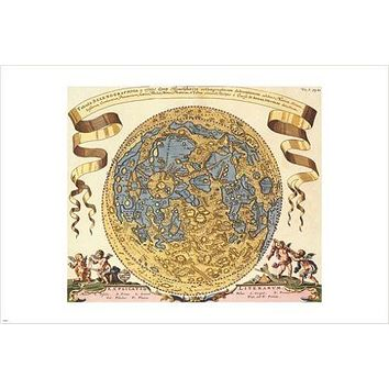 middle ages map WORLD GLOBE 1696 cartography poster JOANNE HEVELC 24X36 hot