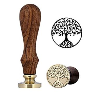 Wax Seal Stamp, Yoption Vintage Retro Brass Head Wooden Handle Initial Wax Stamp Classic Seal Wax Stamp (Tree Of Life)