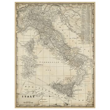 Antique Map of Italy Canvas Wall Art
