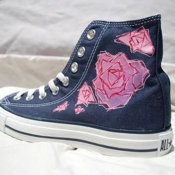 Rose Hand Painted Converse Shoes