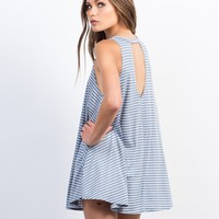 Striped V-Back Swing Dress