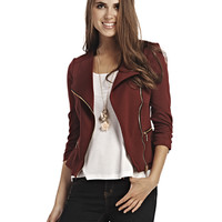 Ponte Knit Moto Jacket | Wet Seal