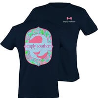 Simply Southern Floral Whale Tee - Navy