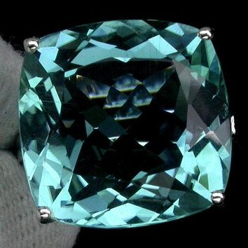 A Perfect Rare Vintage 19.5CT Cushion Cut Aquamarine Engagement Ring
