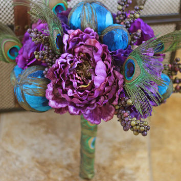 Plum Peacock Feather Wedding Bouquet