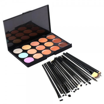 15-Color Contour Face Cream Concealer Palette + 20Pcs Eye Makeup Brush Set