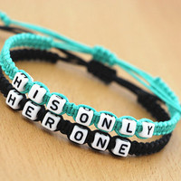 Couples Bracelets, 'Her One ' and ' His Only' Custom Personalized Bracelet, Boyfriend Girlfriend, Wedding Anniversary valentine gift
