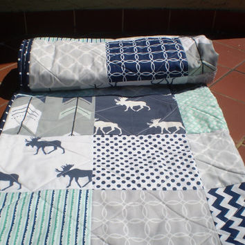 Baby quilt,Baby moose quilt,moose arrow quilt,baby girl quilt,baby boy bedding,woodland,rustic,mint green,grey,navy,chevron-Only Bullwinkle
