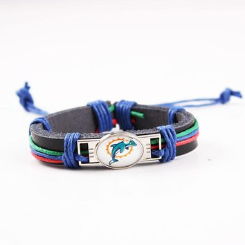 America Football Team Miami Dolphins Logo Leather Bracelet Genuine Leather Bracelets & Bangles Jewelry For Sport Fan 6pcs/lot