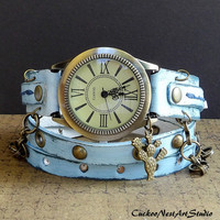 Ocean Blue Wrap Watch,  Womens leather watch, Bracelet Watch, Chain Wrist Watch, Distressed Fashion Watch with Cactus charm