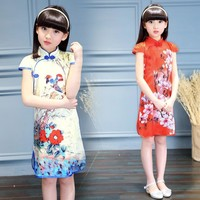 Fashion Chinese Style Traditional Cheongsam Costume Dress Girls Qipao Dress Girls Princess Party Performance Dress High Quality