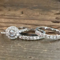 A Perfect 4.5TCW Round Cut Halo Russian Lab Diamond Stack Bridal Set Wedding Band Ring