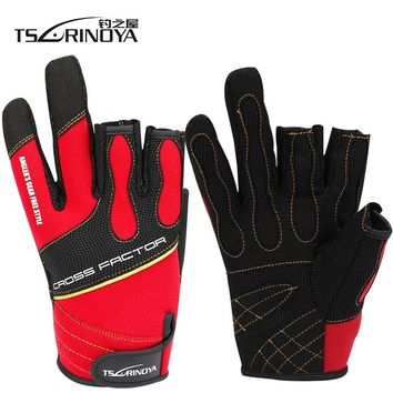 Tsurinoya High Anti-Slip Durable Gloves Three Fingers Outdoor Gloves Riding Glove Anti-slip Stretch Fishing Glove Tackle Tools