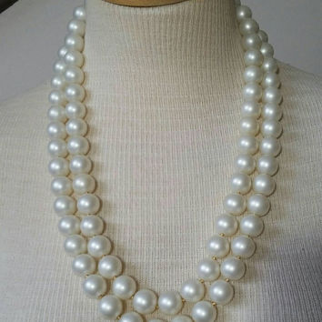 Vintage Long Faux Pearl Necklace