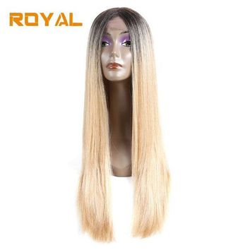 LMFG8W Royal #613 Blonde Two Tone Ombre Brazilian Human Hair Wigs Long Straight Hair Wig Wth Middle Part 22Inch Non-Remy Hair