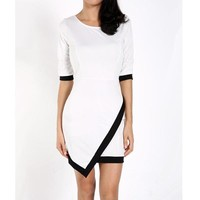 Women Sexy office Lady dress Black white Formal
