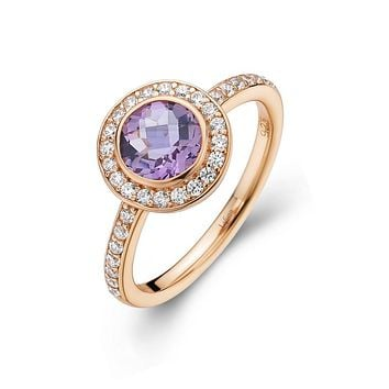 Lafonn Aria Sterling Silver Rose Gold Plated Amethyst Ring